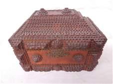 Antique Tramp Art Wooden Box