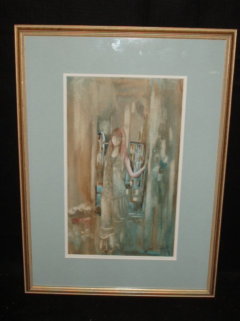 1034: Jean Tupat signed watercolor & gouache