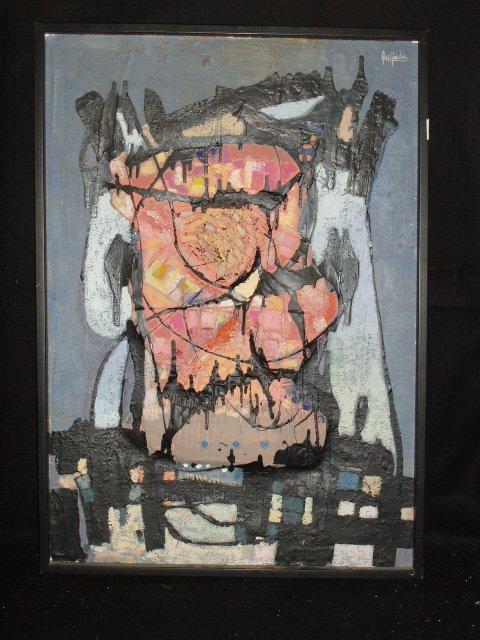 1038: Queijada signed acrylic on sack canvas