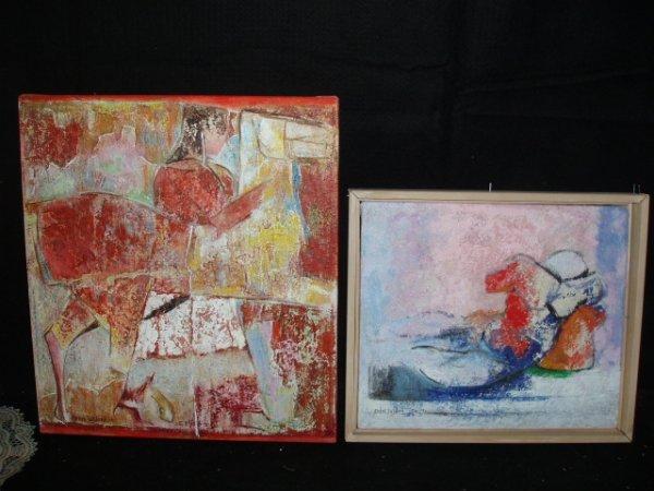 1044: Mehri Yazdani signed acrylic on canvas