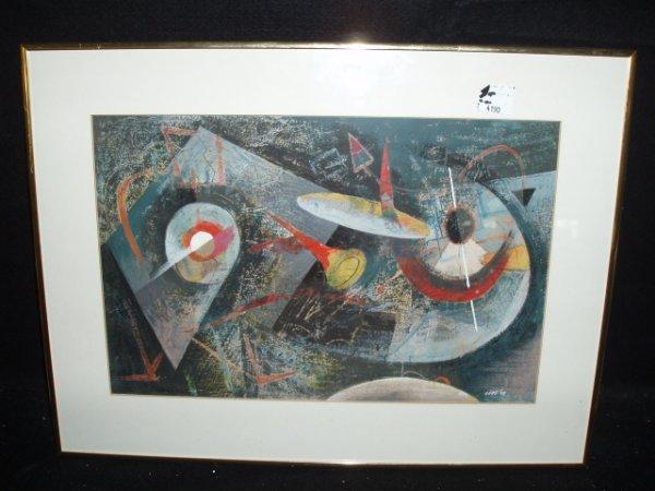 1048: Bill Loos signed gouache & crayon