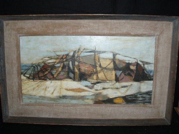 1054: Burpee (?) signed acrylic on masonite