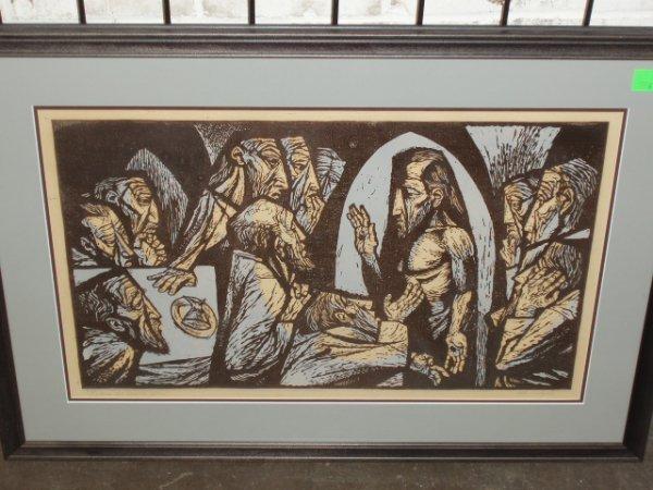 1056: Robert O. Hodgell signed woodcut