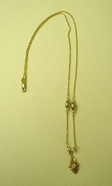 1090: 14k yg pearl & diamond necklace