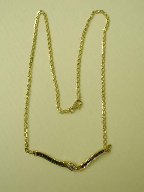 1095: 14k yg sapphire & diamond necklace