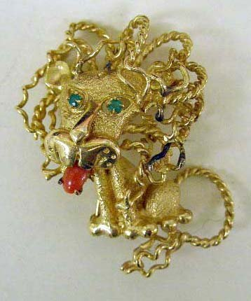 1100: 14k yg Lion pin