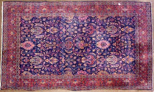 1157: Antique Kerman area carpet