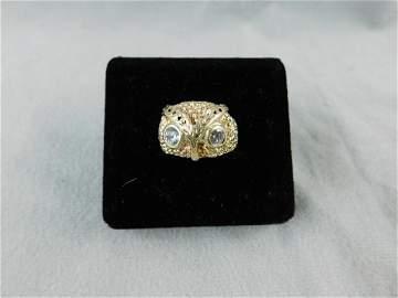Gold Owl Head Ring