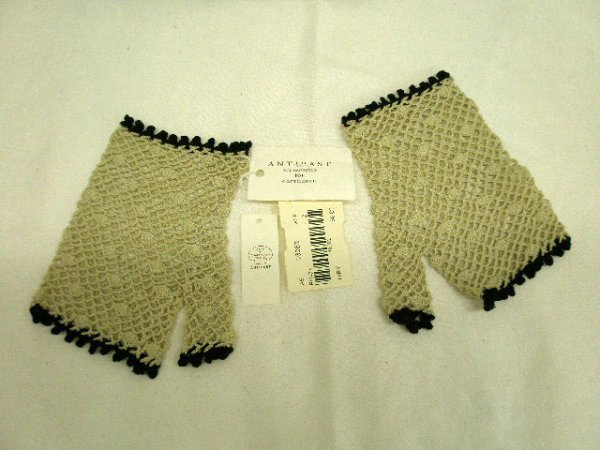 "1003: Beige & black crocheted mitts by ""Antipast, acces"