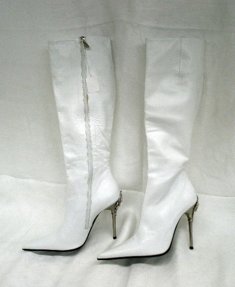 1005: Gianmarco Lorenzi white leather high boots