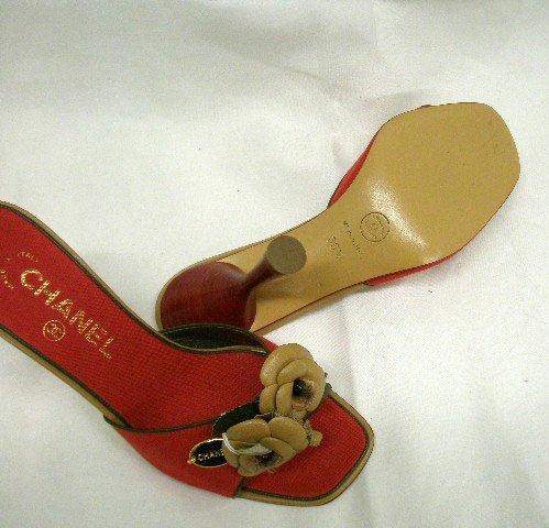 1011: Chanel red linen open toe high heel slides - 2