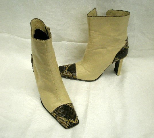 1018: Casadei beige leather & brown snakeskin boots, si