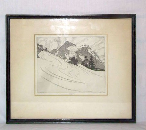 """3099: Roi Partridge, 1927, etching, """"Up North"""""""