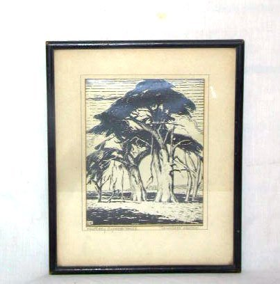 "3100: Douglass Fraser, block print, ""Monterey Cypress T"