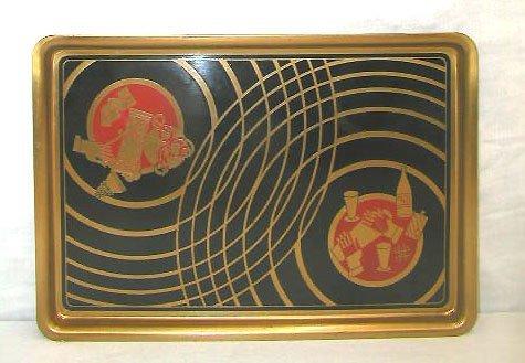4001: Art Deco metal serving tray