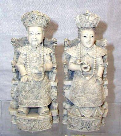 4013: Ivory signed Emperor & Empress figures