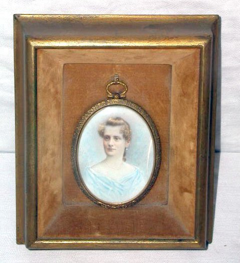 4020: 19th C. portrait painting on Ivory