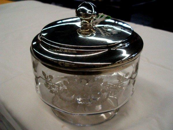 5020: Hawkes crystal jar w/ sterling lid