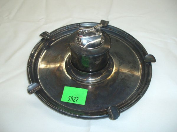 5022: B & M sterling ashtray and lighter