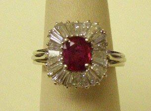 5249: 14k WG ruby & diamond cocktail ring