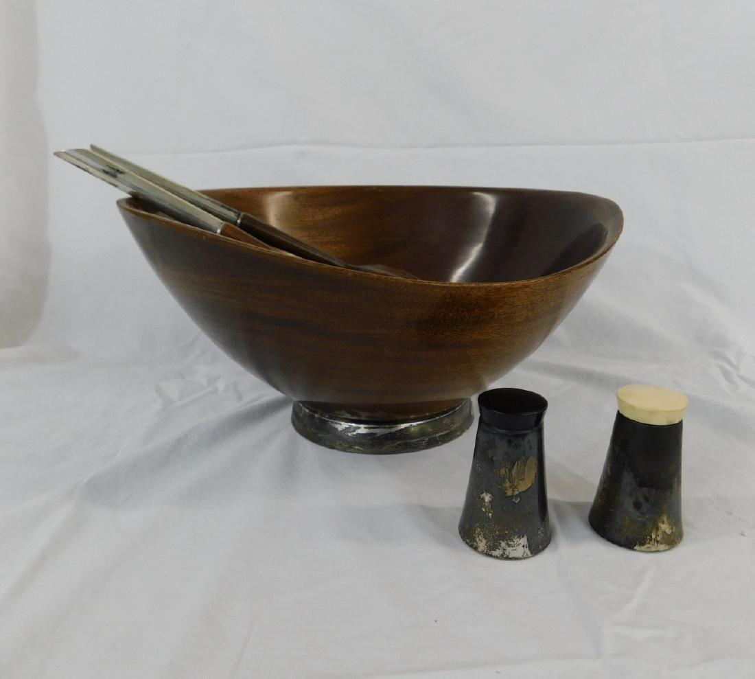 Sterling Silver & Wood Salad Set