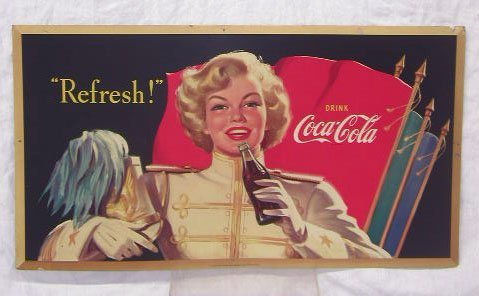 1007: 1952 Coca-Cola Double Sided Sign