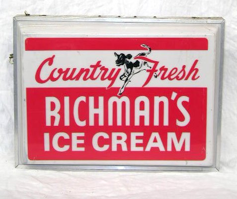 1018: Richman's Ice Cream Lite Up Sign
