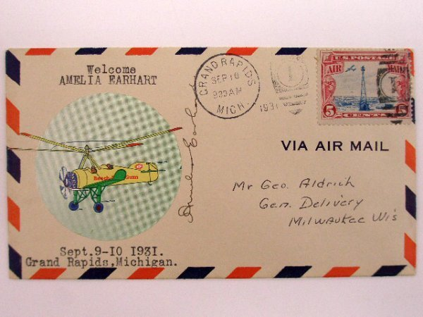1137: Amelia Earhart Signed 1931 Air Mail Cover