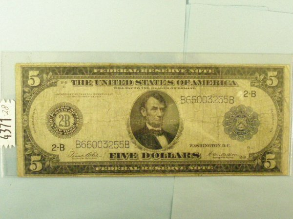 2022: US Series 1914 $5 Federal Reserve Note