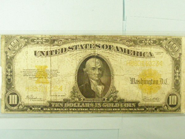 2023: US 1922 Series $10 gold certificate payable in go