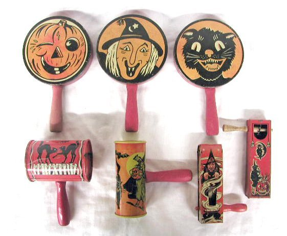 3001: Vintage tin Halloween noise makers