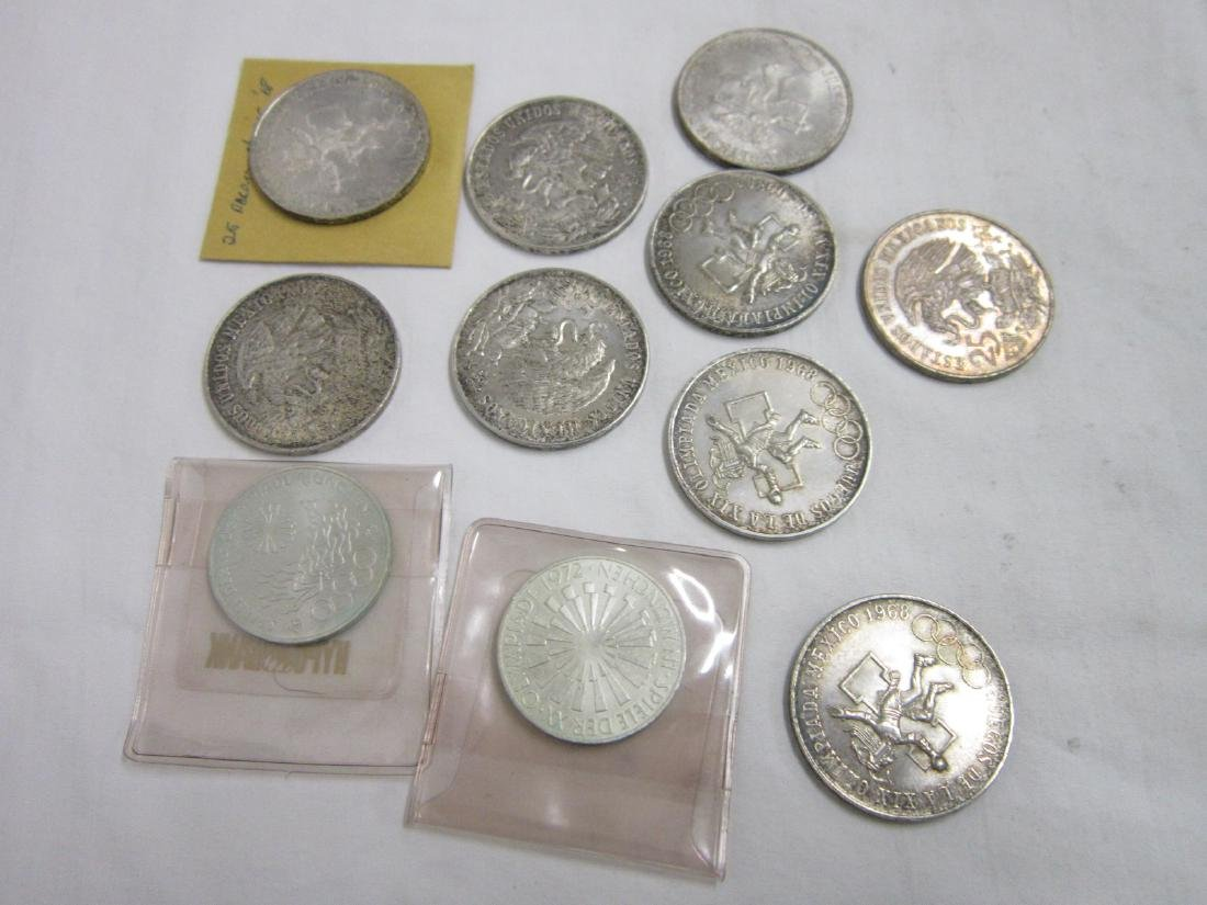 9 Mexican & 2 German Olympic Silver Coins