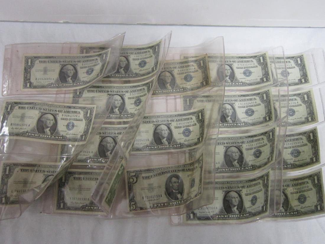 17 Silver $1 Certificates, One $5