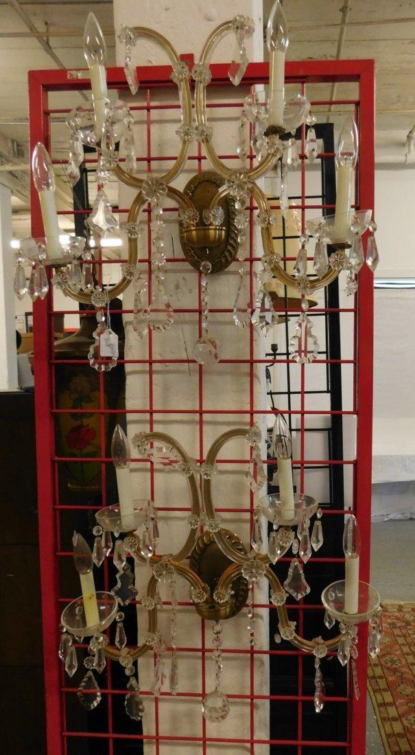 Pr Venetian Style Glass Wall Sconces