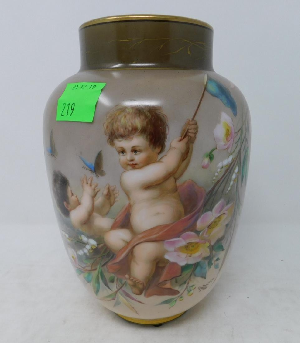 Josef Ahne Bohemian Opal Glass Hand-Painted Vase