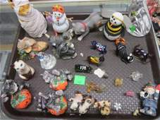Assorted Porcelain Glass Cat & Other Figures