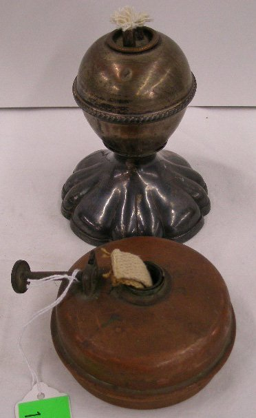 1001I: Antique copper & silverplate oil lamps