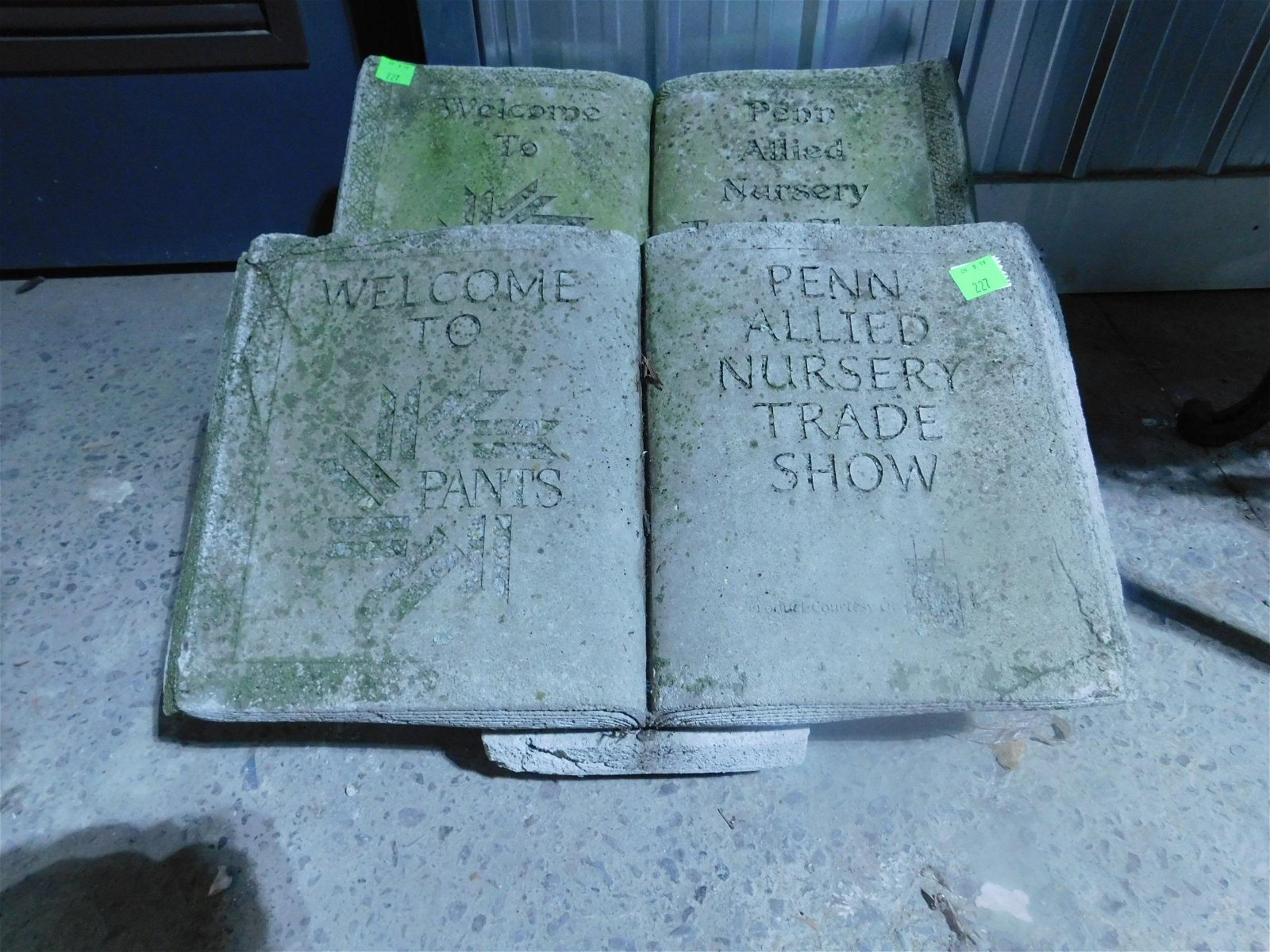 2 Cement Garden Book Ornaments