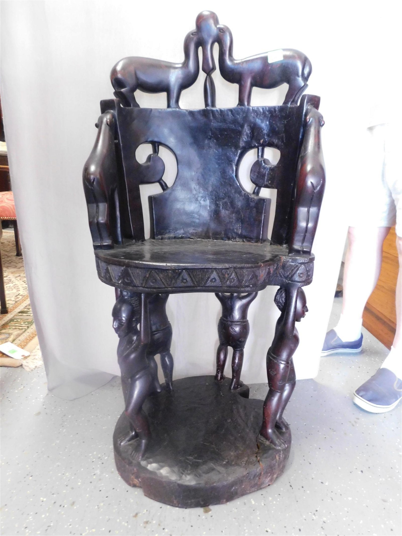 African Carved Throne Chair