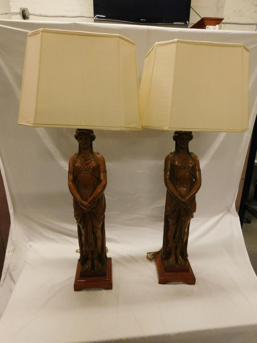 Pair Terracotta Classical Maiden Sculptures