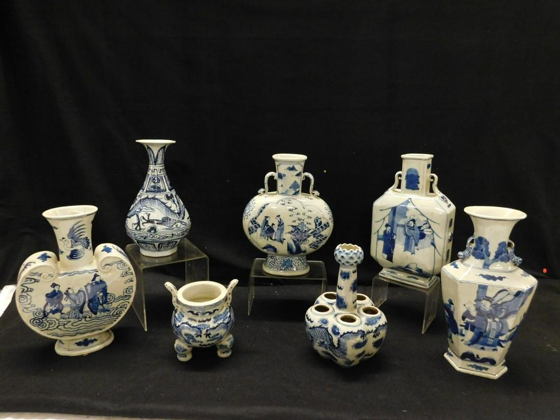 7 Chinese Blue & White Porcelain Vases