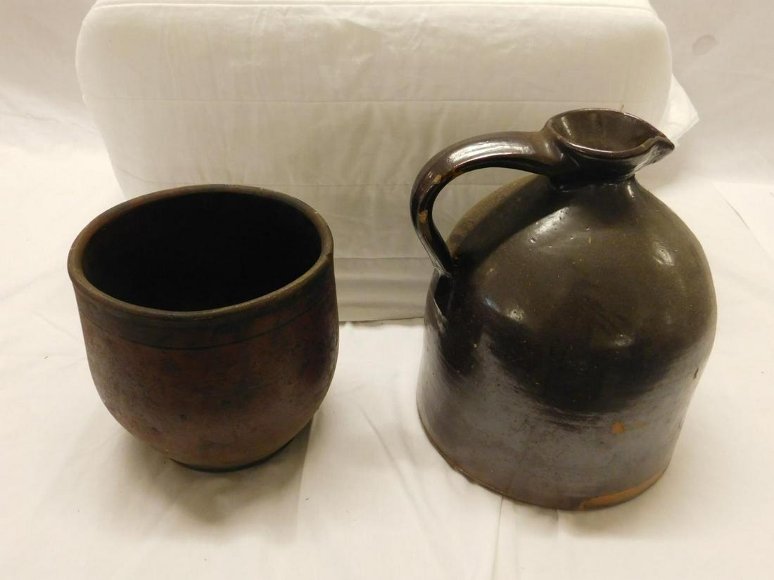 2 Brown Stoneware Pieces