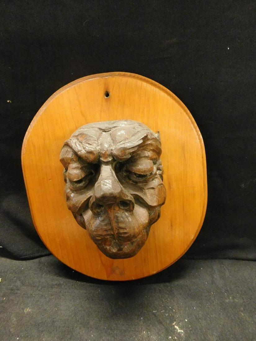 Vintage Carved Wood Mask Plaque