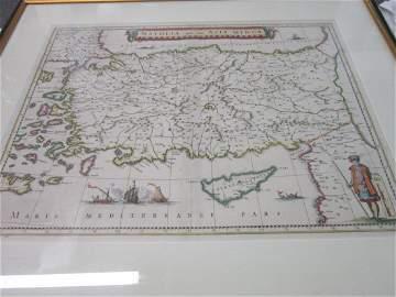 17th c. J. Blaeu (?) Engraved Map of Asia Minor