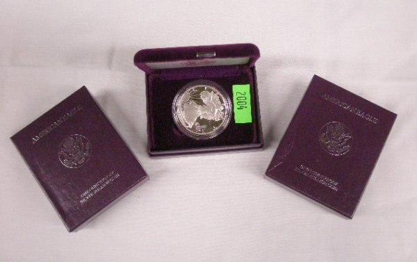 2004: 3 U.S. Mint American Eagle proof silver dollars