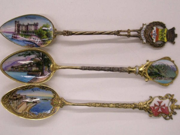2015: Silver & painted on enamel souvenir spoons