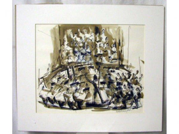 4008: Ethel Lunenfeld signed watercolor & pen