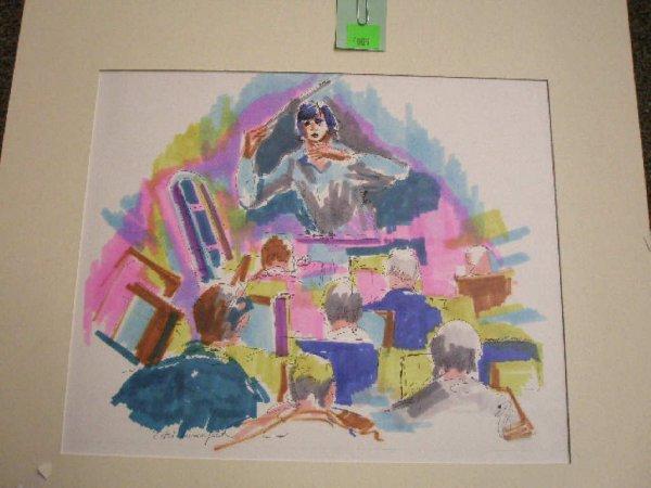 4009: Ethel Lunenfeld signed watercolor & pen