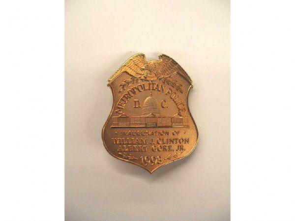 1993 Inauguration D.C. Metropolitan Police badge