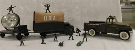 3 Vintage Structo Pressed Steel Army Vehicles